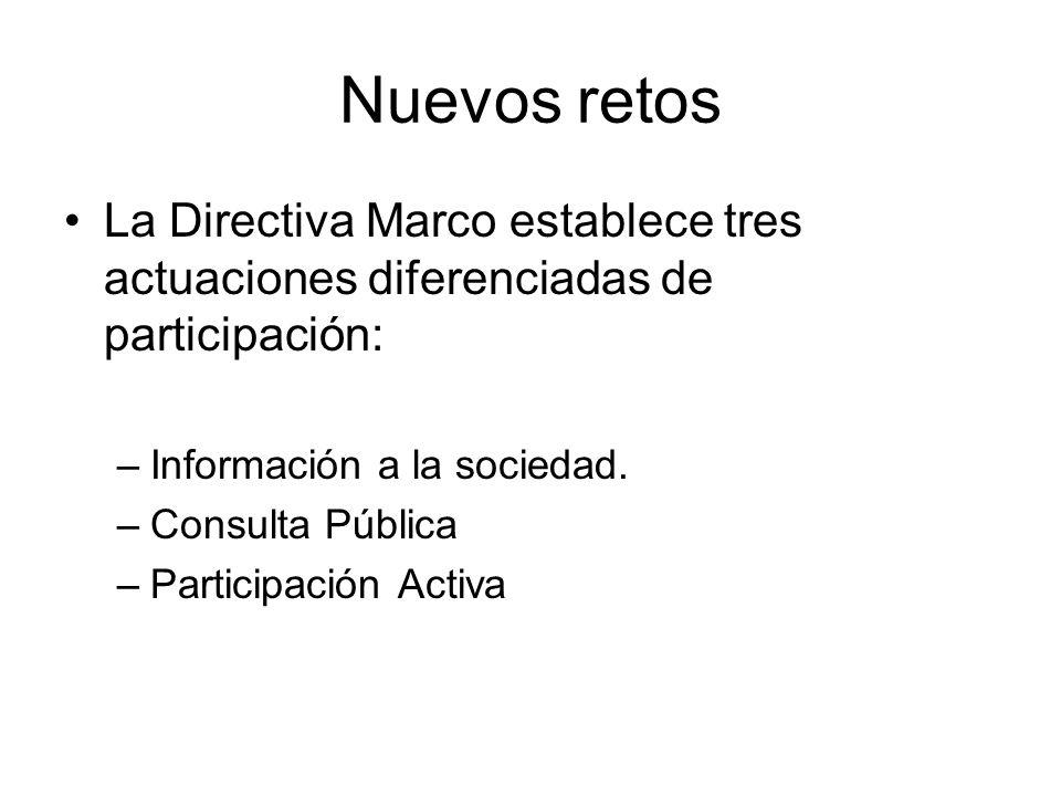 Nuevos retos La Directiva Marco establece tres actuaciones diferenciadas de participación: –Información a la sociedad. –Consulta Pública –Participació