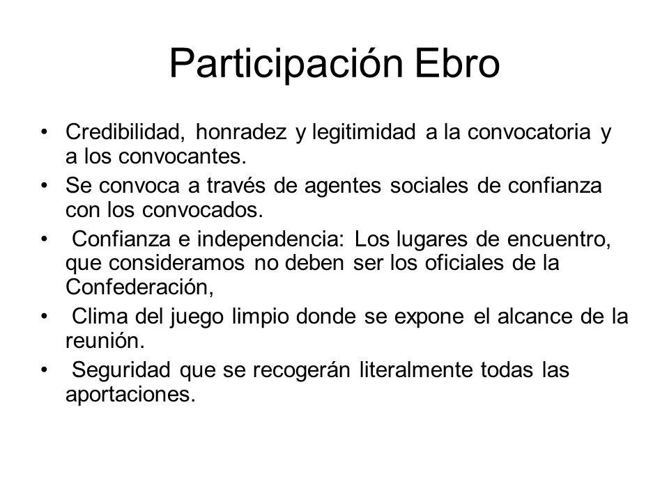 Participación Ebro Credibilidad, honradez y legitimidad a la convocatoria y a los convocantes. Se convoca a través de agentes sociales de confianza co