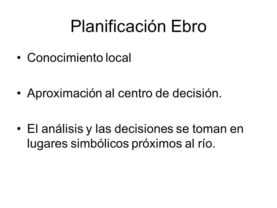 Planificación Ebro Conocimiento local Aproximación al centro de decisión. El análisis y las decisiones se toman en lugares simbólicos próximos al río.