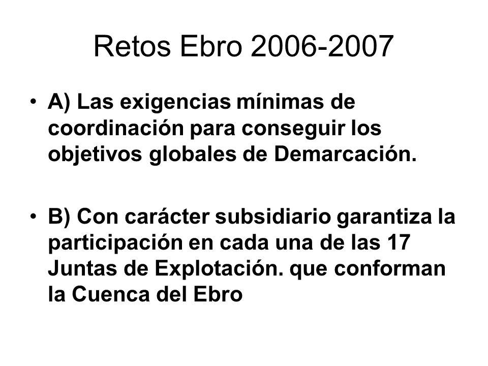 Retos Ebro 2006-2007 A) Las exigencias mínimas de coordinación para conseguir los objetivos globales de Demarcación. B) Con carácter subsidiario garan