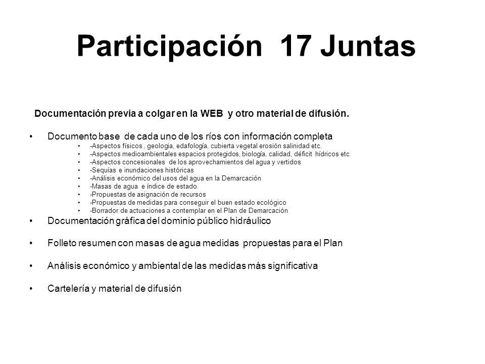 Participación 17 Juntas Documentación previa a colgar en la WEB y otro material de difusión. Documento base de cada uno de los ríos con información co