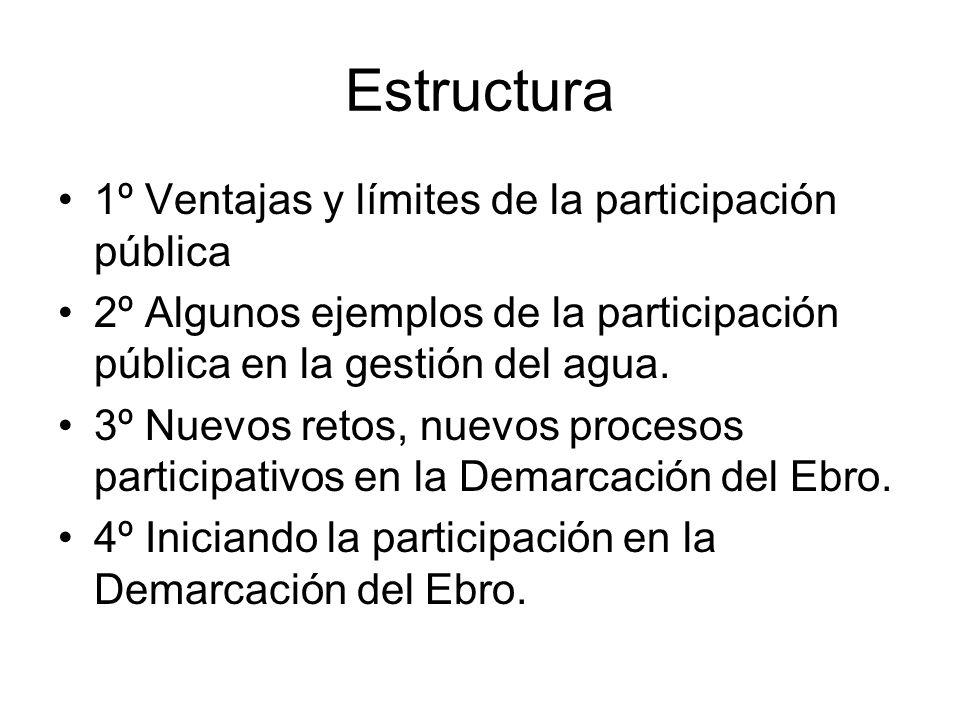 Estructura 1º Ventajas y límites de la participación pública 2º Algunos ejemplos de la participación pública en la gestión del agua. 3º Nuevos retos,