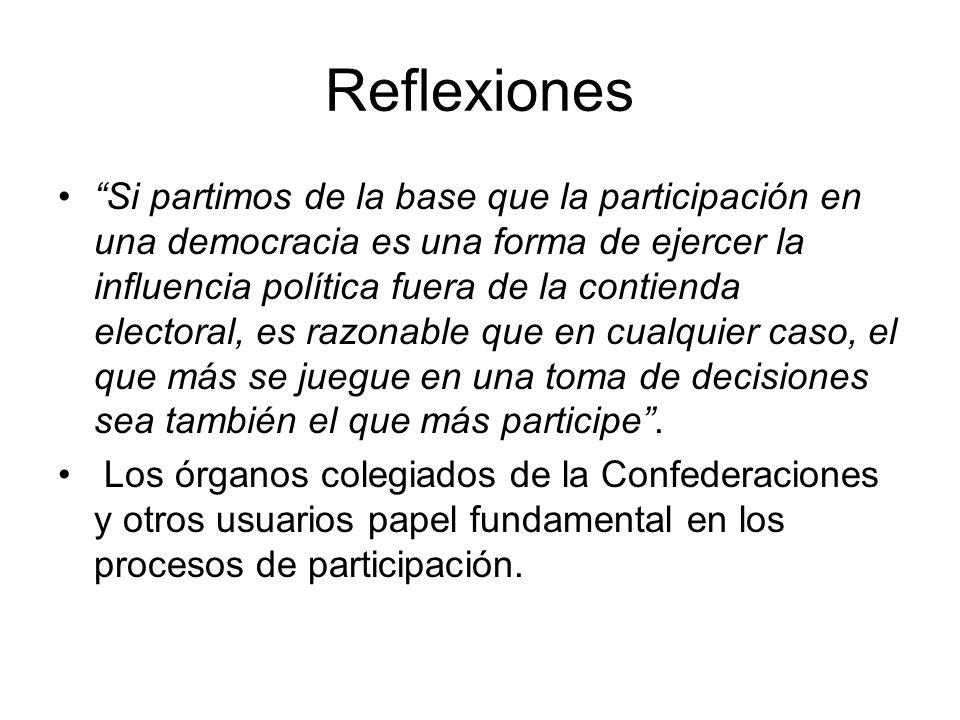 Reflexiones Si partimos de la base que la participación en una democracia es una forma de ejercer la influencia política fuera de la contienda elector
