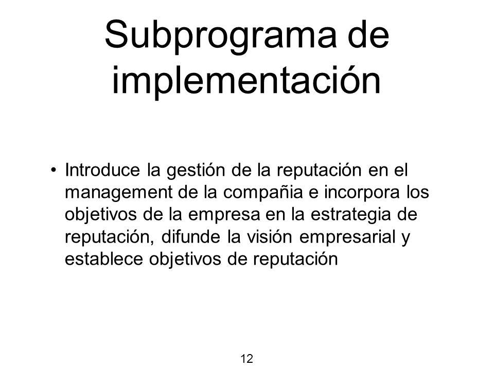 Subprograma de implementación Introduce la gestión de la reputación en el management de la compañia e incorpora los objetivos de la empresa en la estrategia de reputación, difunde la visión empresarial y establece objetivos de reputación 12