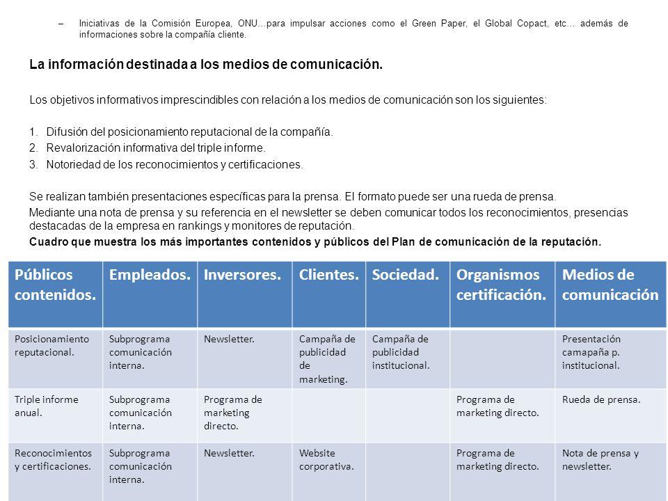 –Iniciativas de la Comisión Europea, ONU…para impulsar acciones como el Green Paper, el Global Copact, etc… además de informaciones sobre la compañía