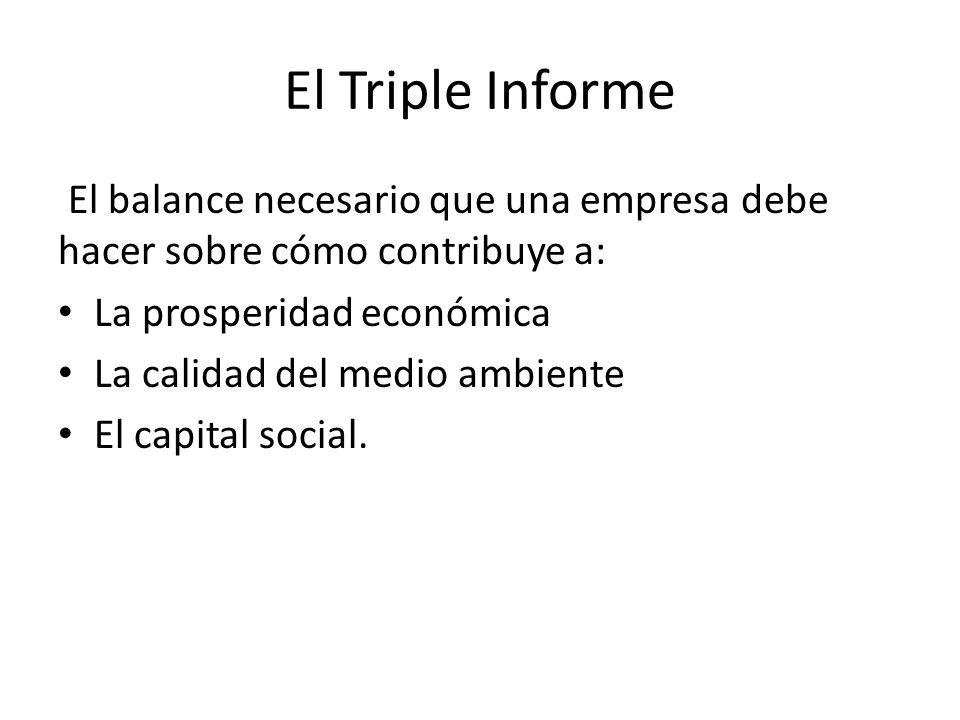 El Triple Informe El balance necesario que una empresa debe hacer sobre cómo contribuye a: La prosperidad económica La calidad del medio ambiente El capital social.