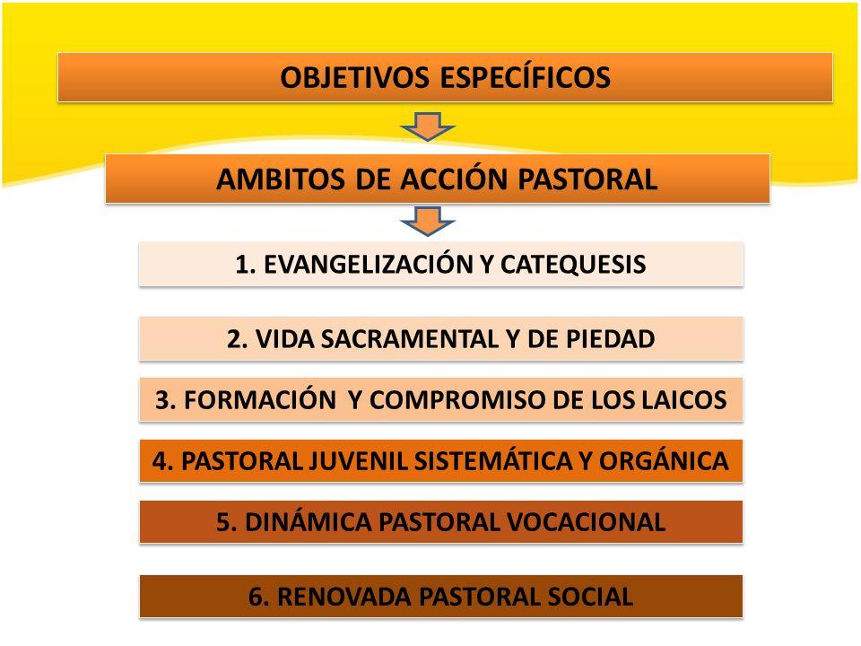 AMBITOS DE ACCIÓN PASTORAL 1. EVANGELIZACIÓN Y CATEQUESIS 2. VIDA SACRAMENTAL Y DE PIEDAD 3. FORMACIÓN Y COMPROMISO DE LOS LAICOS 4. PASTORAL JUVENIL