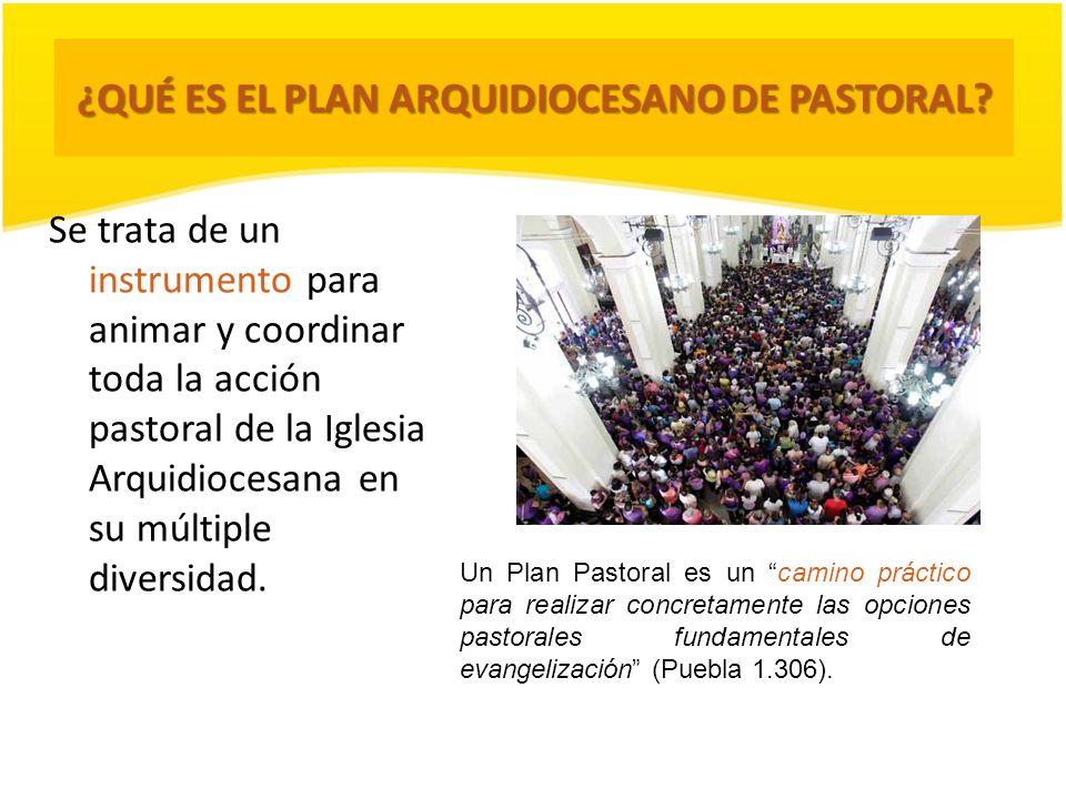 ¿QUÉ ES EL PLAN ARQUIDIOCESANO DE PASTORAL? Se trata de un instrumento para animar y coordinar toda la acción pastoral de la Iglesia Arquidiocesana en