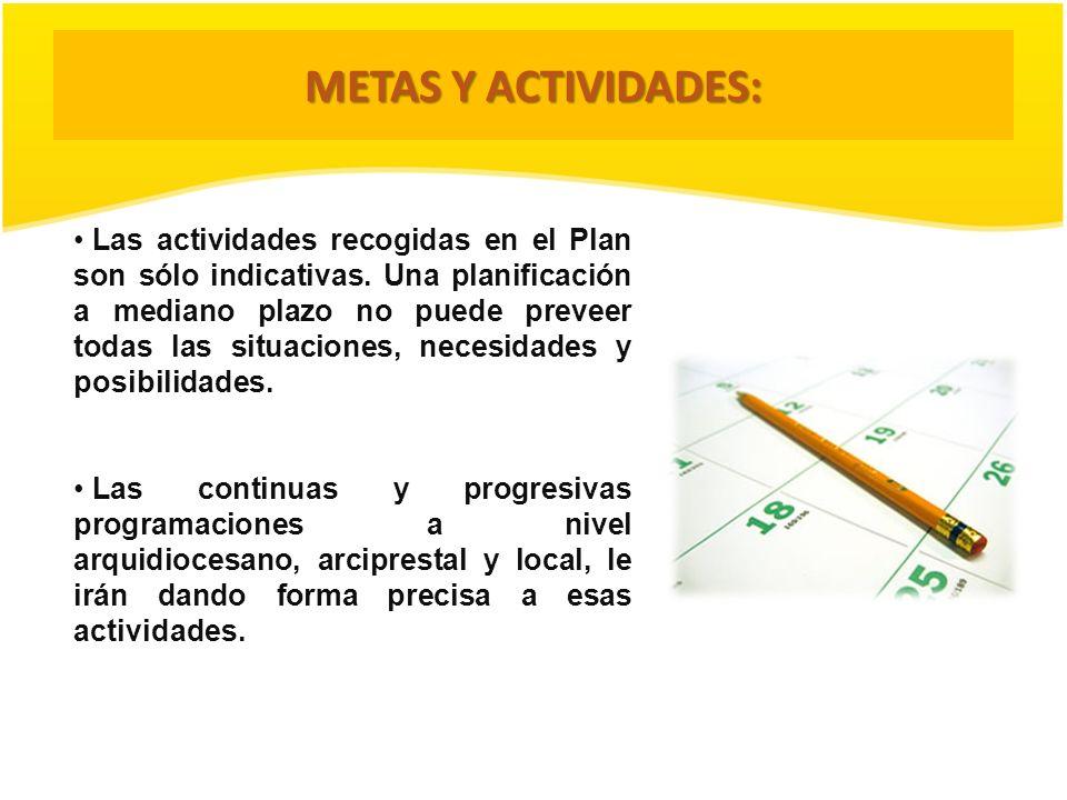 METAS Y ACTIVIDADES: Las actividades recogidas en el Plan son sólo indicativas. Una planificación a mediano plazo no puede preveer todas las situacion