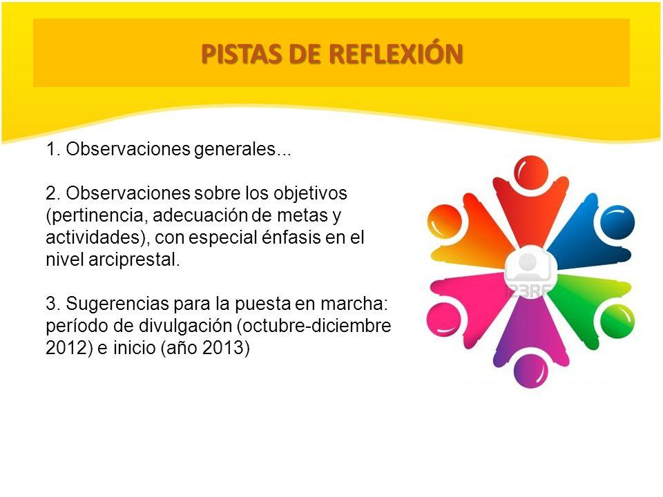 PISTAS DE REFLEXIÓN 1. Observaciones generales... 2. Observaciones sobre los objetivos (pertinencia, adecuación de metas y actividades), con especial