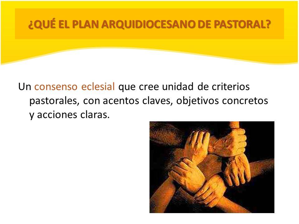 ¿QUÉ EL PLAN ARQUIDIOCESANO DE PASTORAL? Un consenso eclesial que cree unidad de criterios pastorales, con acentos claves, objetivos concretos y accio