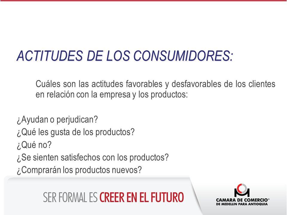 ACTITUDES DE LOS CONSUMIDORES: Cuáles son las actitudes favorables y desfavorables de los clientes en relación con la empresa y los productos: ¿Ayudan