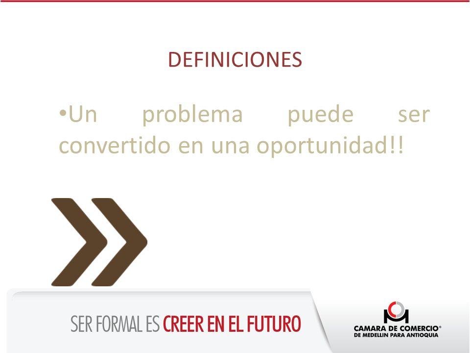 DEFINICIONES Un problema puede ser convertido en una oportunidad!!