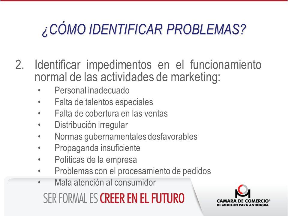 2.Identificar impedimentos en el funcionamiento normal de las actividades de marketing: Personal inadecuado Falta de talentos especiales Falta de cobe