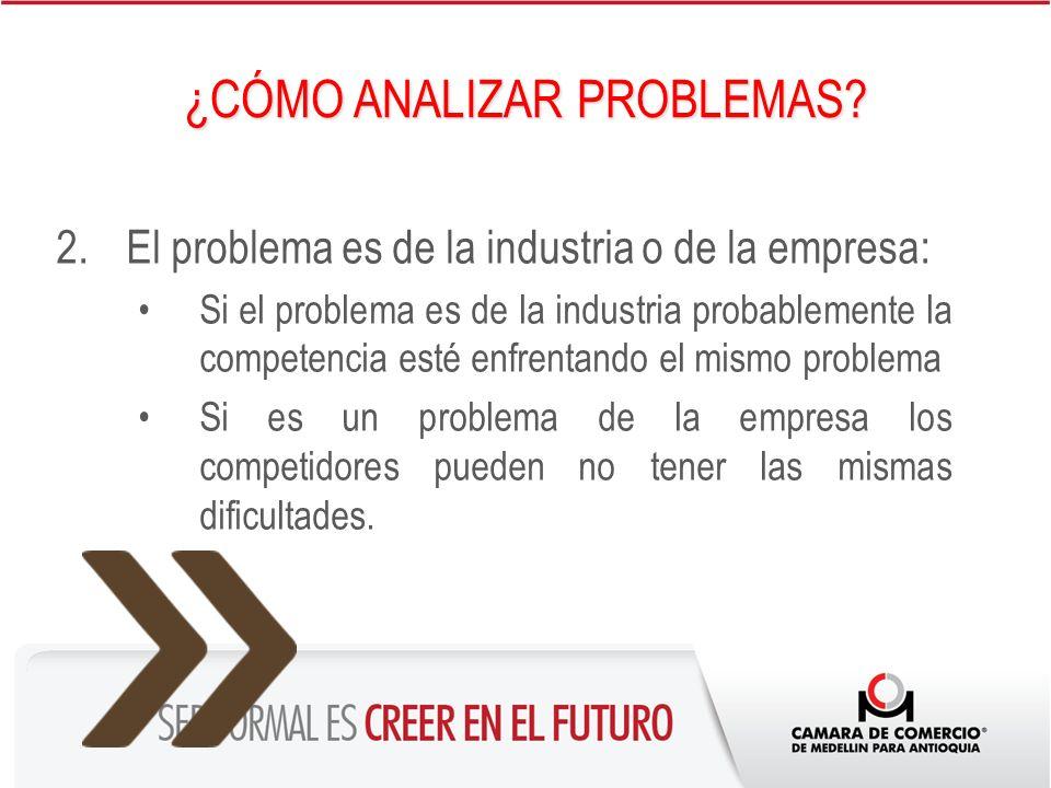 2.El problema es de la industria o de la empresa: Si el problema es de la industria probablemente la competencia esté enfrentando el mismo problema Si