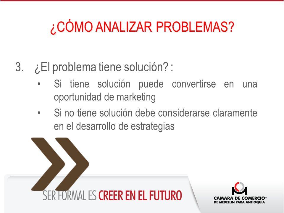 3.¿El problema tiene solución? : Si tiene solución puede convertirse en una oportunidad de marketing Si no tiene solución debe considerarse claramente