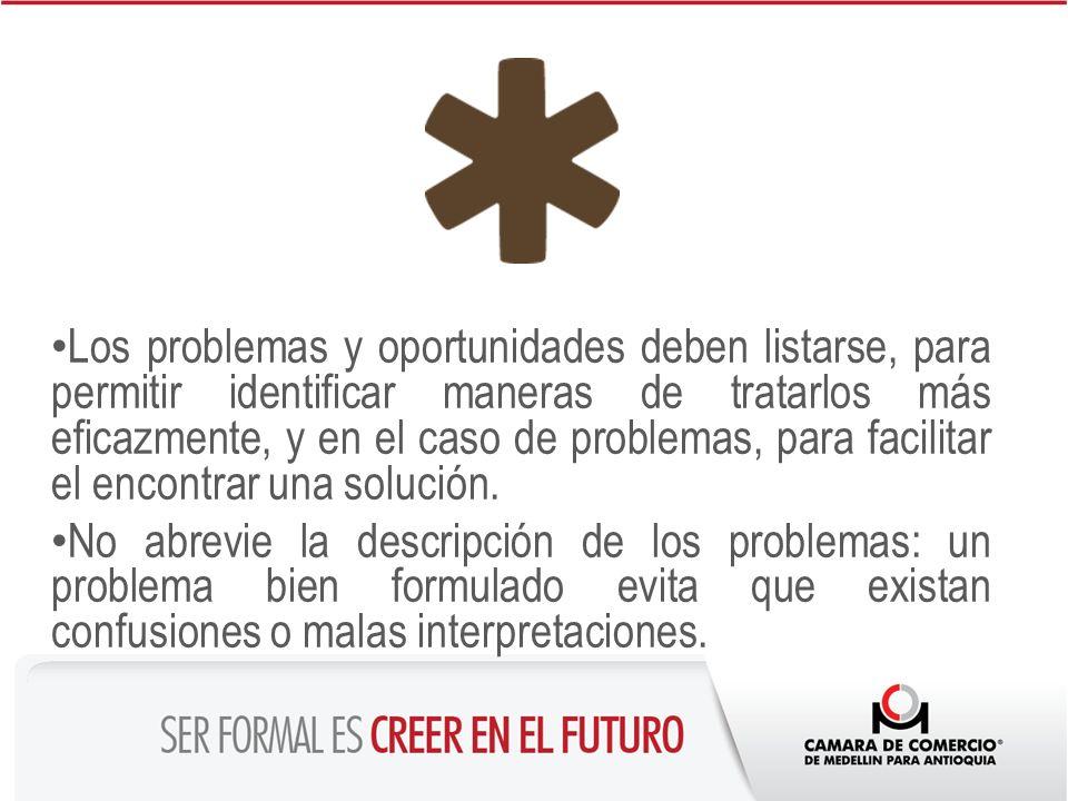 Los problemas y oportunidades deben listarse, para permitir identificar maneras de tratarlos más eficazmente, y en el caso de problemas, para facilita