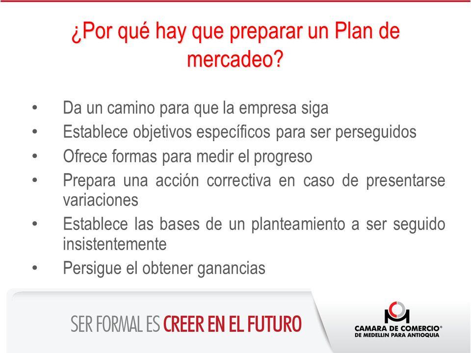 ¿Por qué hay que preparar un Plan de mercadeo? Da un camino para que la empresa siga Establece objetivos específicos para ser perseguidos Ofrece forma