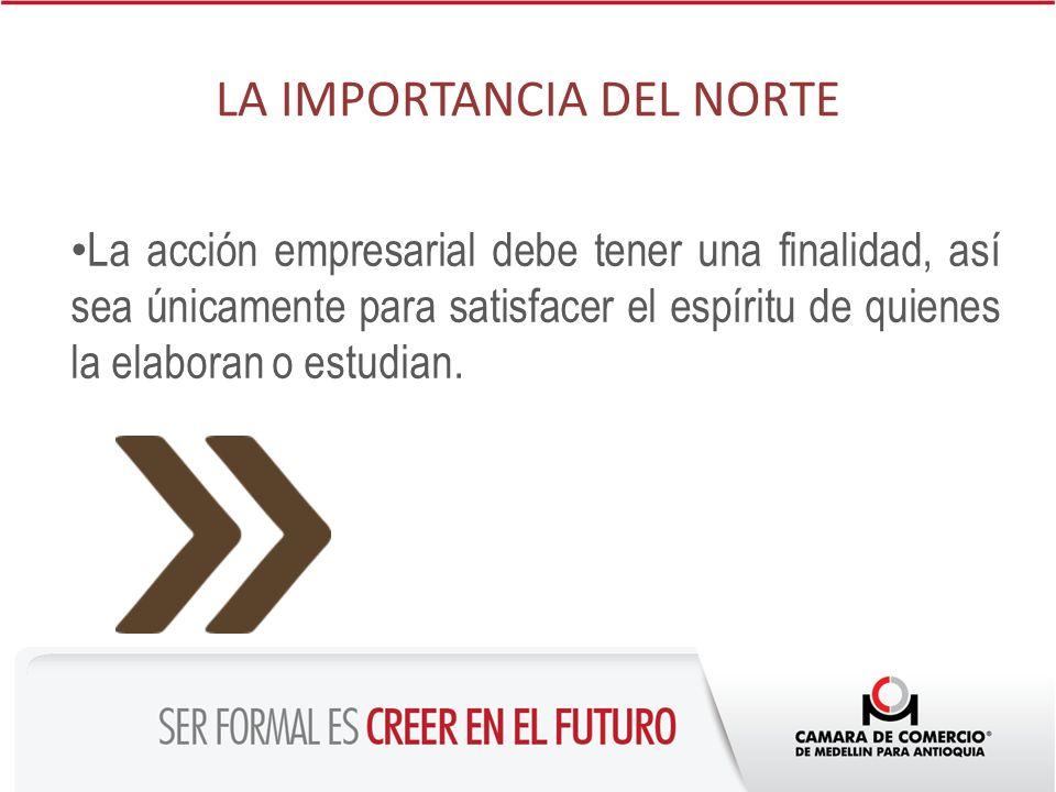 LA IMPORTANCIA DEL NORTE La acción empresarial debe tener una finalidad, así sea únicamente para satisfacer el espíritu de quienes la elaboran o estud