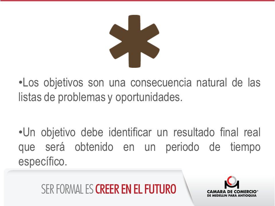 Los objetivos son una consecuencia natural de las listas de problemas y oportunidades. Un objetivo debe identificar un resultado final real que será o