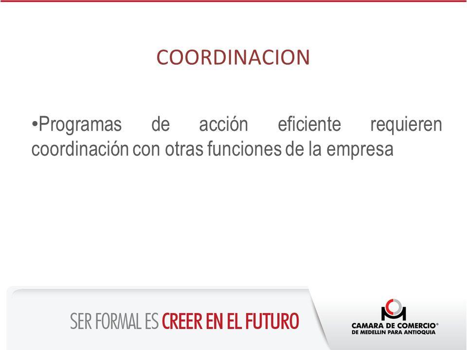 COORDINACION Programas de acción eficiente requieren coordinación con otras funciones de la empresa