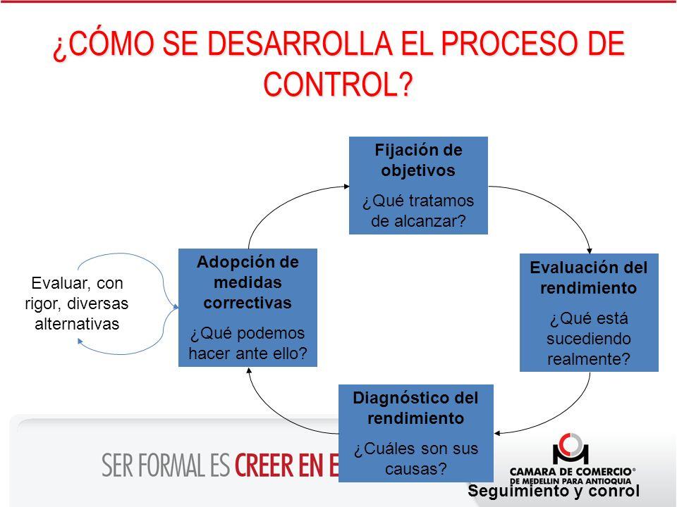 ¿CÓMO SE DESARROLLA EL PROCESO DE CONTROL? Fijación de objetivos ¿Qué tratamos de alcanzar? Diagnóstico del rendimiento ¿Cuáles son sus causas? Evalua