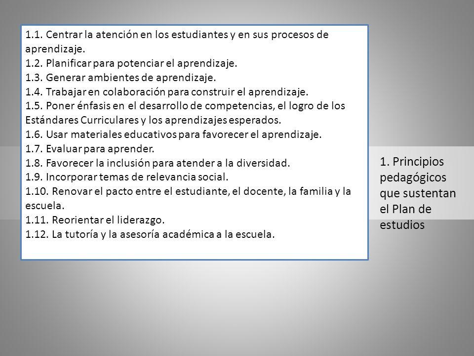 1. Principios pedagógicos que sustentan el Plan de estudios 1.1. Centrar la atención en los estudiantes y en sus procesos de aprendizaje. 1.2. Planifi