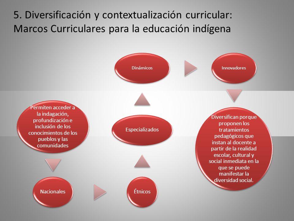 5. Diversificación y contextualización curricular: Marcos Curriculares para la educación indígena Permiten acceder a la indagación, profundización e i