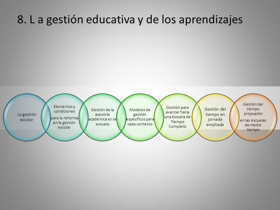 8. L a gestión educativa y de los aprendizajes La gestión escolar Elementos y condiciones para la reforma en la gestión escolar Gestión de la asesoría