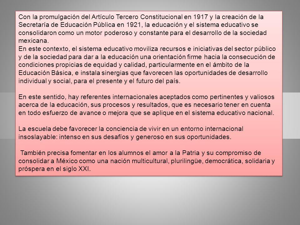 Con la promulgación del Artículo Tercero Constitucional en 1917 y la creación de la Secretaría de Educación Pública en 1921, la educación y el sistema