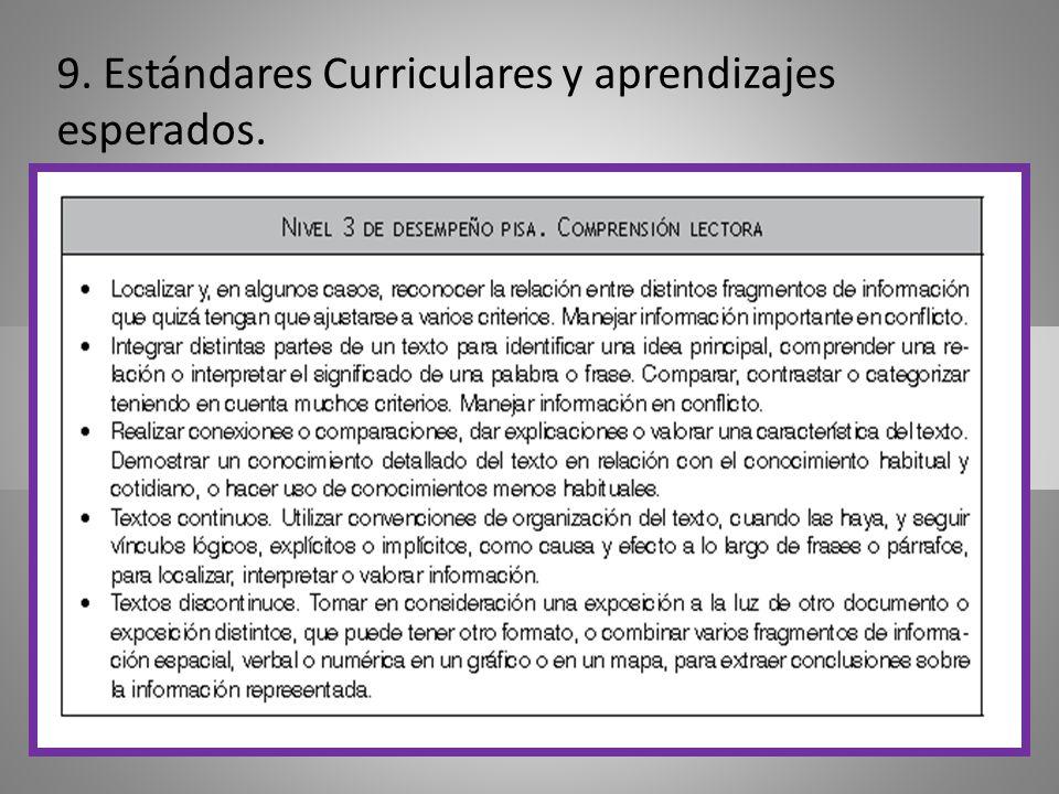 9. Estándares Curriculares y aprendizajes esperados.
