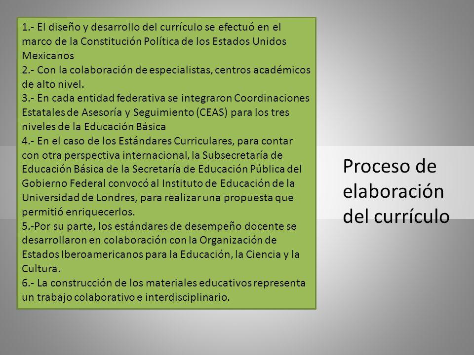 Proceso de elaboración del currículo 1.- El diseño y desarrollo del currículo se efectuó en el marco de la Constitución Política de los Estados Unidos
