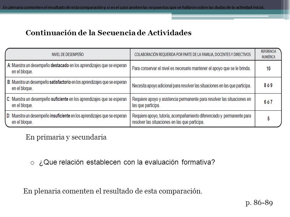 En primaria y secundaria o ¿Que relación establecen con la evaluación formativa? En plenaria comenten el resultado de esta comparación y si es el caso