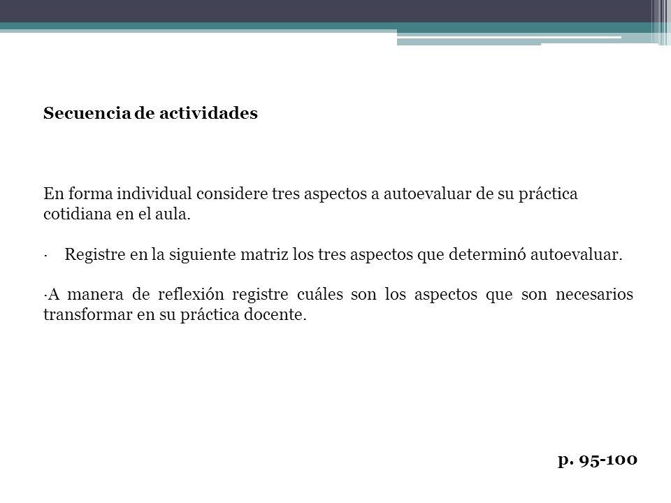Secuencia de actividades En forma individual considere tres aspectos a autoevaluar de su práctica cotidiana en el aula. · Registre en la siguiente mat
