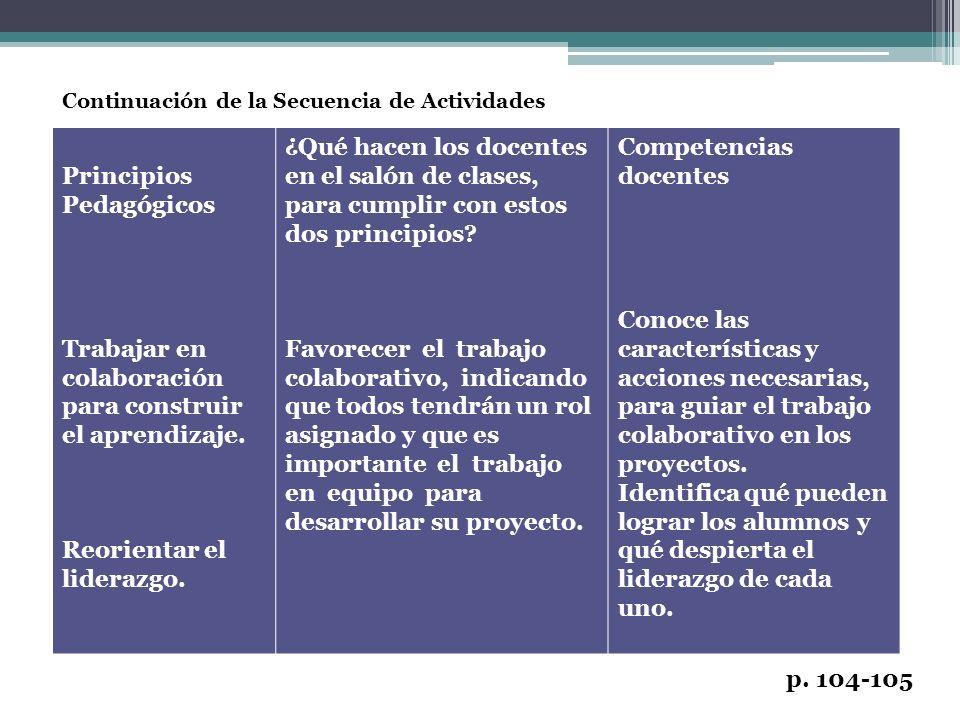 Continuación de la Secuencia de Actividades p. 104-105 Principios Pedagógicos Trabajar en colaboración para construir el aprendizaje. Reorientar el li
