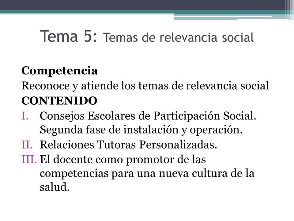 Tema 5: Temas de relevancia social Competencia Reconoce y atiende los temas de relevancia social CONTENIDO I.Consejos Escolares de Participación Socia