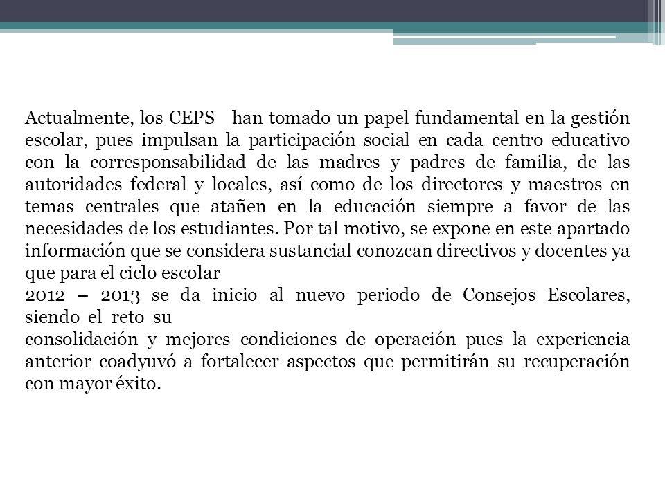 Actualmente, los CEPS han tomado un papel fundamental en la gestión escolar, pues impulsan la participación social en cada centro educativo con la cor