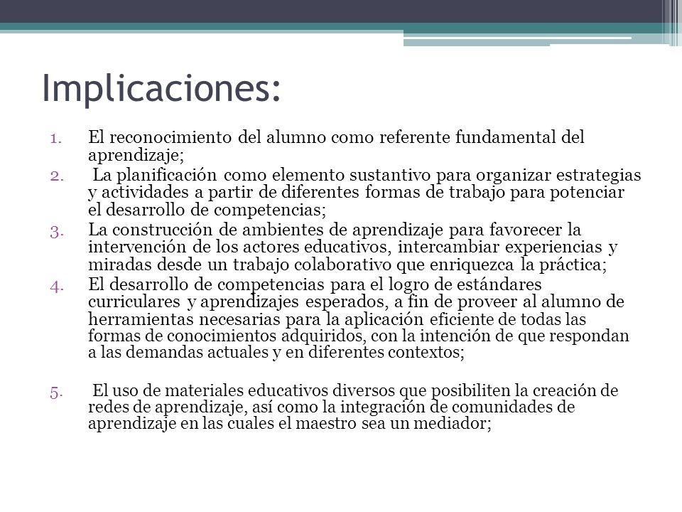 Implicaciones: 1.El reconocimiento del alumno como referente fundamental del aprendizaje; 2. La planificación como elemento sustantivo para organizar