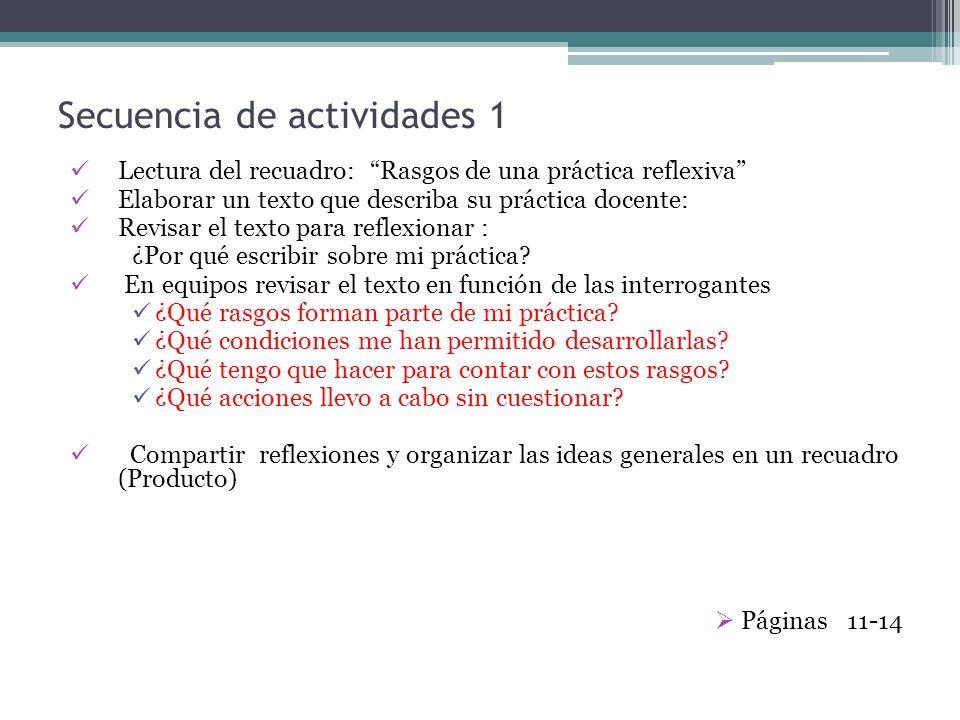 Secuencia de actividades 1 Lectura del recuadro: Rasgos de una práctica reflexiva Elaborar un texto que describa su práctica docente: Revisar el texto