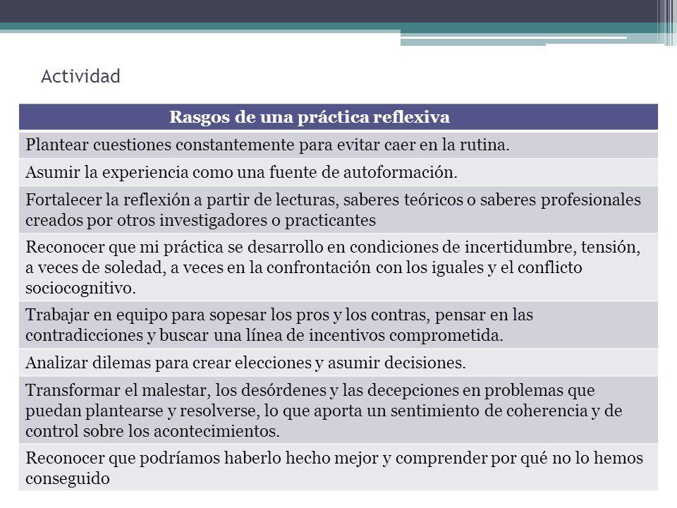 Actividad Rasgos de una práctica reflexiva Plantear cuestiones constantemente para evitar caer en la rutina. Asumir la experiencia como una fuente de