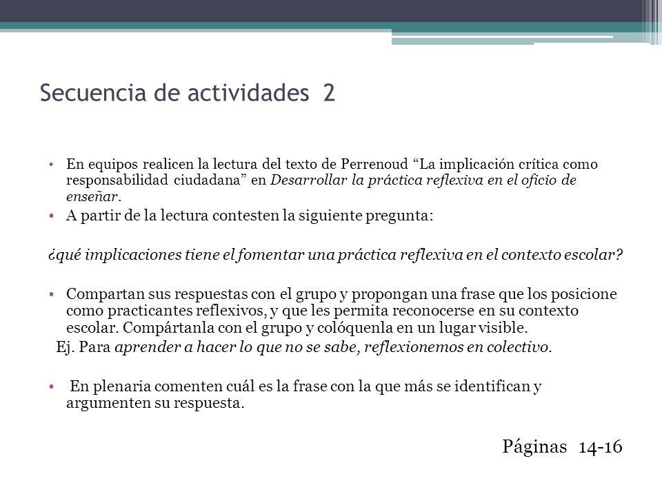 Secuencia de actividades 2 En equipos realicen la lectura del texto de Perrenoud La implicación crítica como responsabilidad ciudadana en Desarrollar