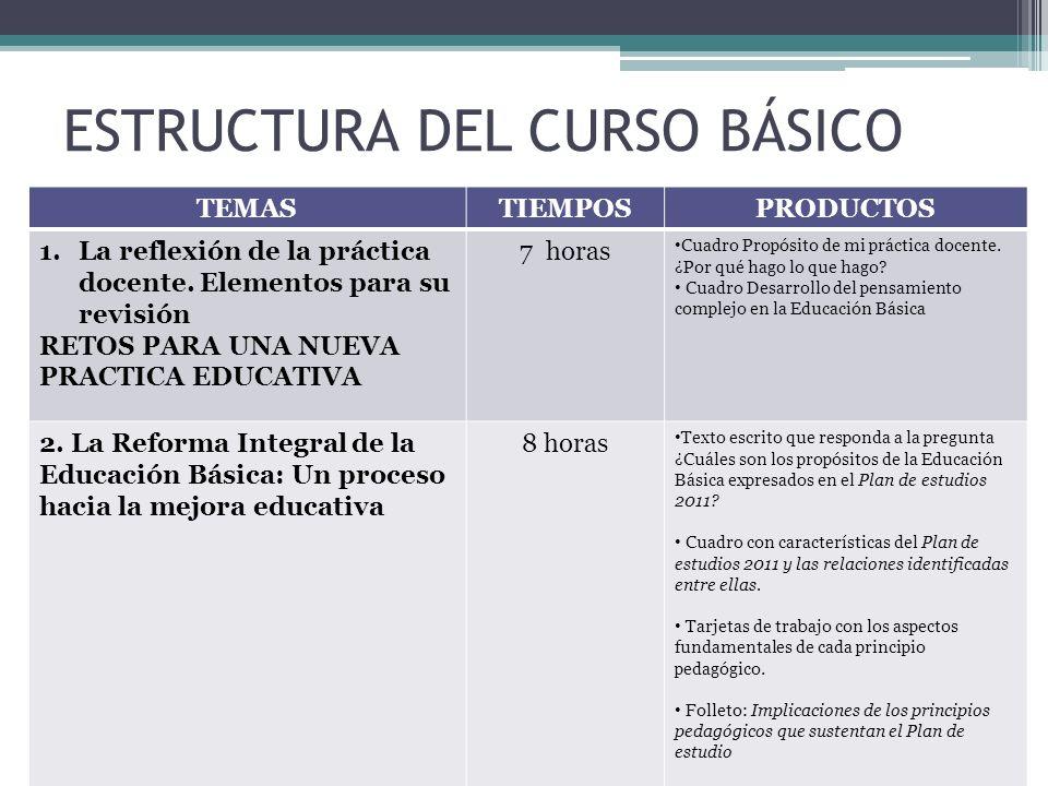 ESTRUCTURA DEL CURSO BÁSICO TEMASTIEMPOSPRODUCTOS 1.La reflexión de la práctica docente. Elementos para su revisión RETOS PARA UNA NUEVA PRACTICA EDUC