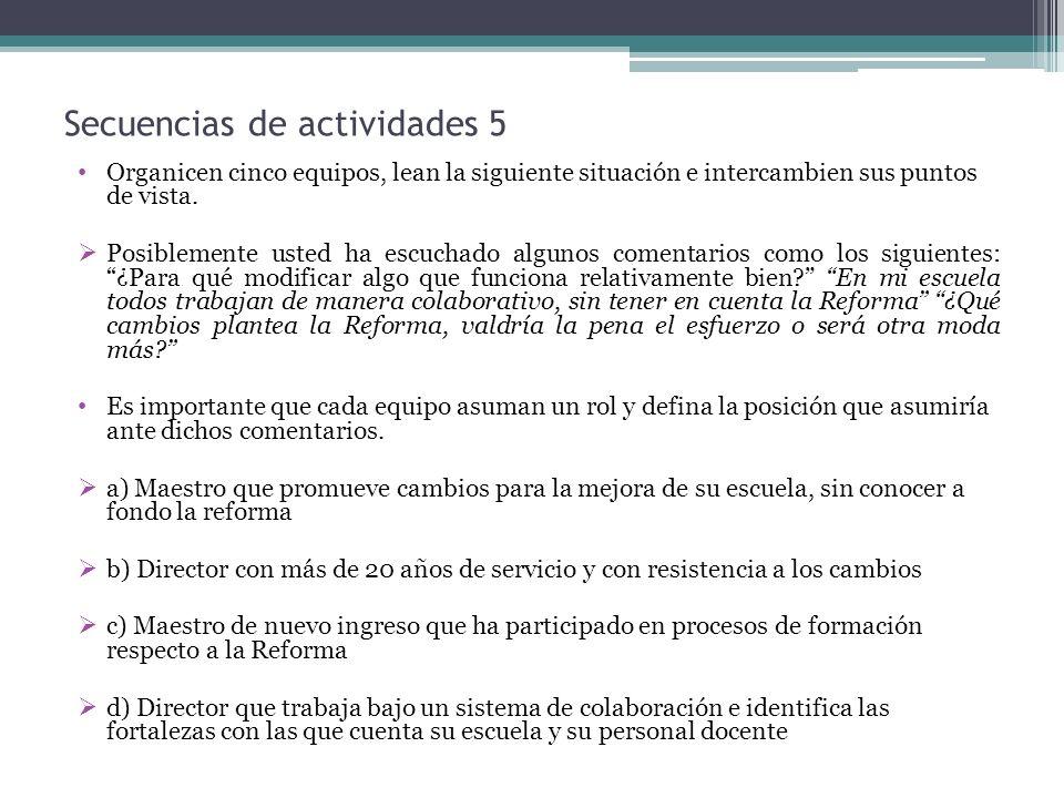 Secuencias de actividades 5 Organicen cinco equipos, lean la siguiente situación e intercambien sus puntos de vista. Posiblemente usted ha escuchado a