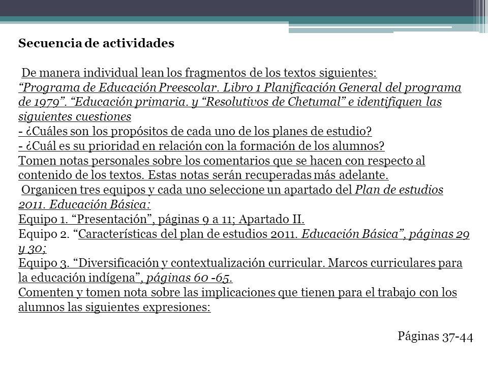 Secuencia de actividades De manera individual lean los fragmentos de los textos siguientes: Programa de Educación Preescolar. Libro 1 Planificación Ge