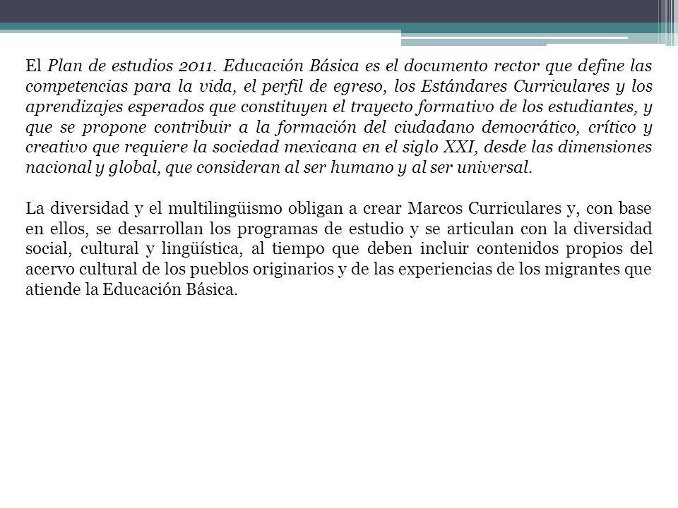 El Plan de estudios 2011. Educación Básica es el documento rector que define las competencias para la vida, el perfil de egreso, los Estándares Curric
