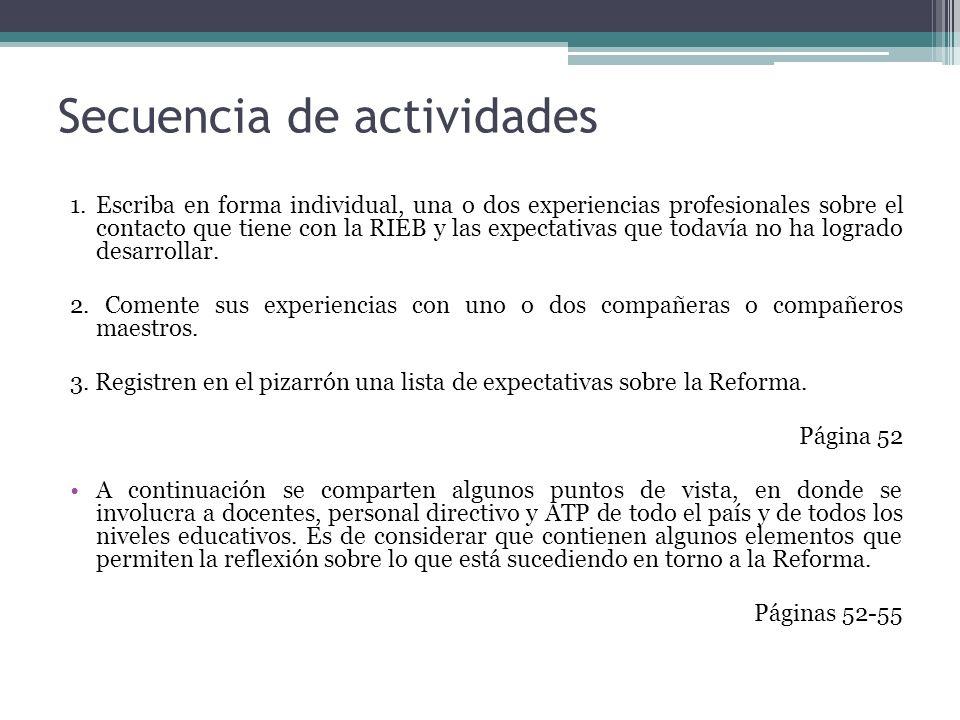 Secuencia de actividades 1. Escriba en forma individual, una o dos experiencias profesionales sobre el contacto que tiene con la RIEB y las expectativ