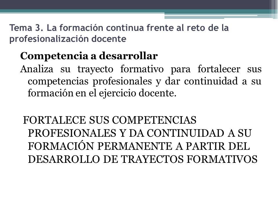Tema 3. La formación continua frente al reto de la profesionalización docente Competencia a desarrollar Analiza su trayecto formativo para fortalecer
