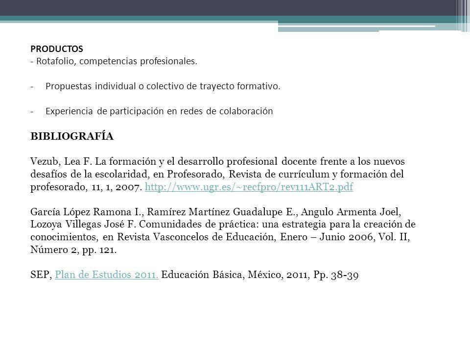 PRODUCTOS - Rotafolio, competencias profesionales. - Propuestas individual o colectivo de trayecto formativo. - Experiencia de participación en redes