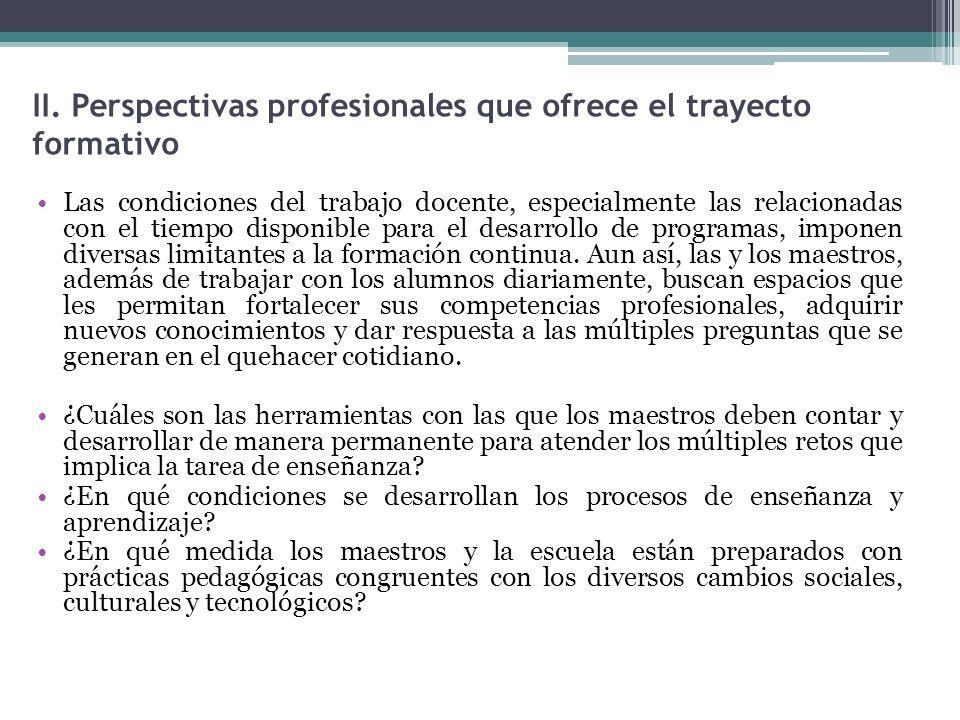 II. Perspectivas profesionales que ofrece el trayecto formativo Las condiciones del trabajo docente, especialmente las relacionadas con el tiempo disp
