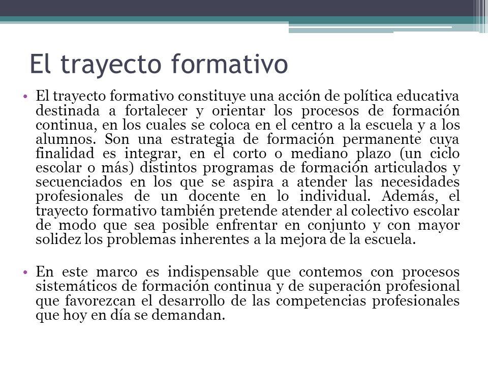 El trayecto formativo El trayecto formativo constituye una acción de política educativa destinada a fortalecer y orientar los procesos de formación co
